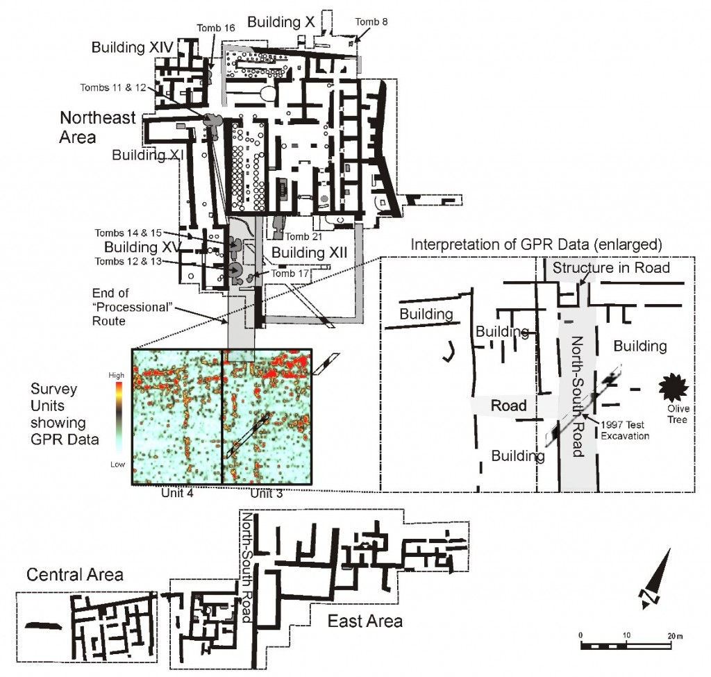 Figure 2: Detail of Northeast, Central and East excavation areas at Kalavasos-Ayios Dhimitrios, showing results of ground penetrating radar (GRP) survey for Units 3 and 4 (adapted from plan provided by Alison South).