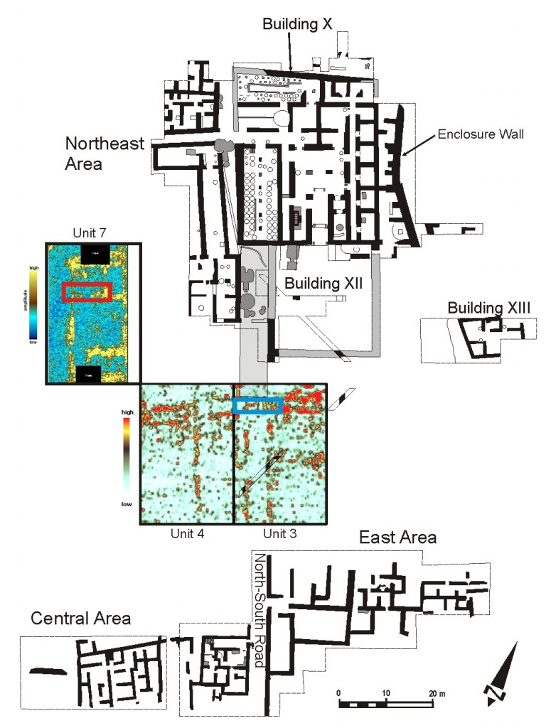 Figure 3: Plan of the Northeast and East/Central excavations areas at K-AD showing GPR time slices from Units 3 and 4 (2010) and Unit 7 (2012). The excavation trenches Unit 3 Test and Unit 7 Test are shown in blue and red, respectively.