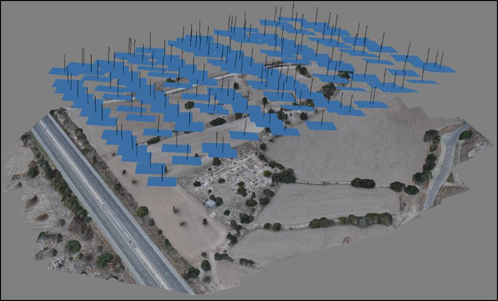 Figure 3. Output from Photoscan showing location of aerial photographs from 2013 UAV flight (Elise Jackoby).
