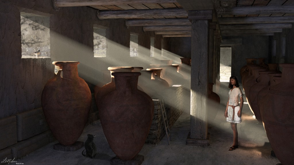 Figure 3:  Visualization of the Pithos Hall in Building X, Kalavasos-Ayios Dhimitrios by Lisa McLean (© L. McLean/K. Fisher 2014).