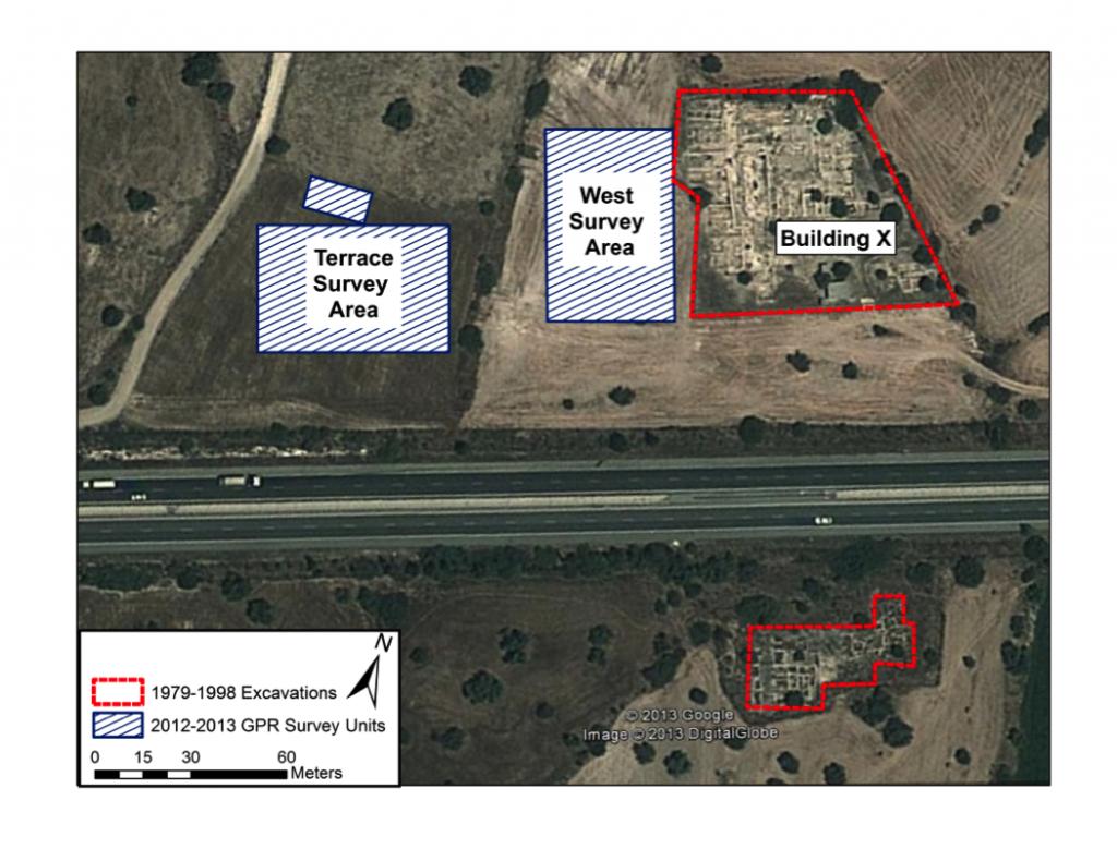 Figure 1:  Areas of GPR survey during 2013 season at Kalavasos-Ayios Dhimitrios