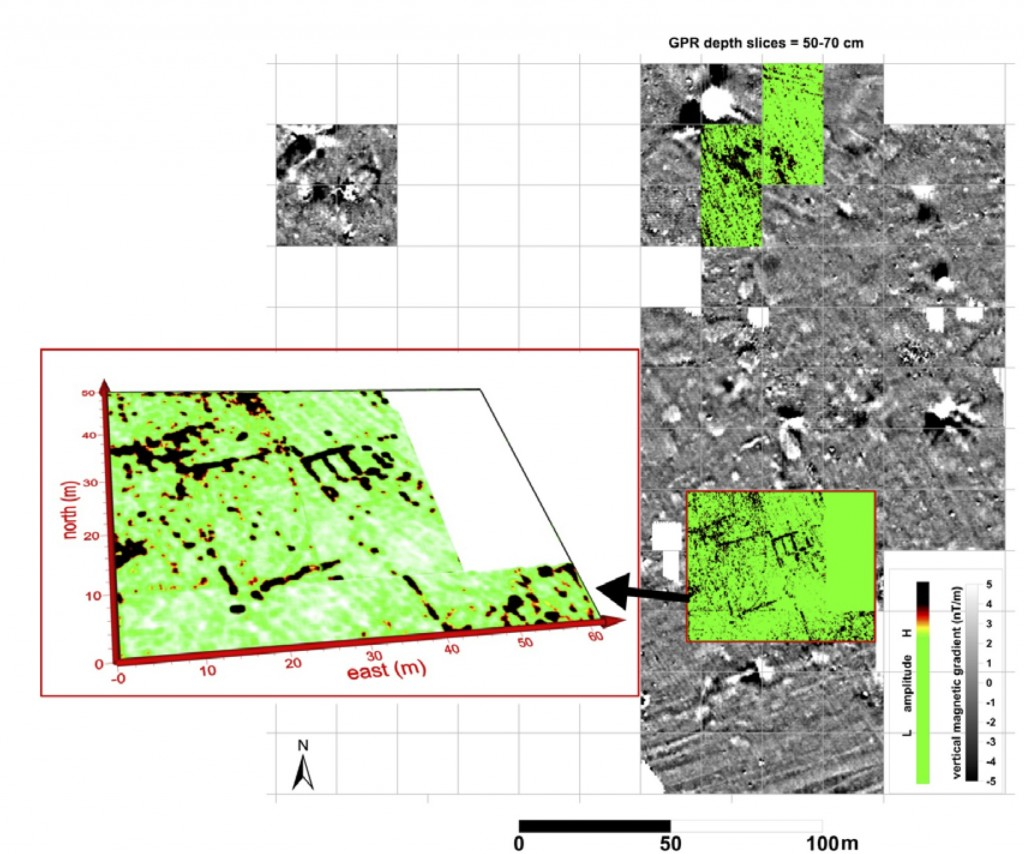 Figure 4:  FM256 fluxgate gradiometer survey (greyscale) with GPR (Sensors and Software Noggin 250 MHz) survey data overlaid (green & black) from areas between Maroni-Vournes and Maroni-Tsaroukkas.
